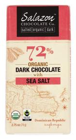 72% Dark w/Sea Salt 12 of 2.75 OZ By SALAZON CHOCOLATE CO