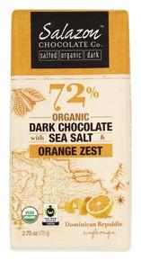 72% Dark w/Sea Salt & Orng Zest 12 of 2.75 OZ By SALAZON CHOCOLATE CO