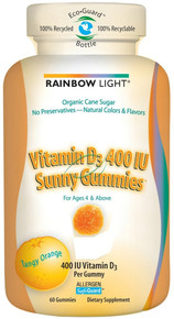 Vitamin D Sunny Gummies Tangy Orange 60 Gummies 400 IU From Rainbow Light