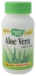 Aloe Vera Latex & Leaf 550 mg 100 Vegetable Capsules From Nature's Way