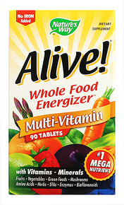 Alive! Multi Vitamins Whole Food Energizer (no iron) 90 tabs from Nature's Way