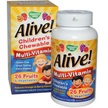 Nature's Way Alive! Children's Chewable Multi-Vitamin Natural Orange & Berry Flavors 120 Chewable Tablets