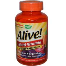 Nature's Way Alive! Multi-Vitamin Adult Gummies Cherry Grape and Orange Flavors 90 Gummies
