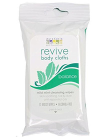 Revive Body Cloth Mild Mint Cleansing Balance 12 CT By Aura Cacia