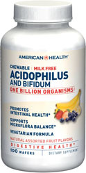American Health Chewable Acidophilus Assorted Fruit Flavor 120 Wafer