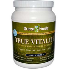 True Vitality Plant Protein Shake with DHA Unflavored 22.7 oz (644 g) From Green Foods
