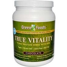 True Vitality Plant Protein Shake with DHA Chocolate 25.2 oz (714 g) From Green Foods
