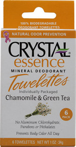 Crystal Essence Mineral Deodorant Towelettes-Chamomile & Green Tea Box 6 Pieces  From Crystal Body Deodorant (French Transit)