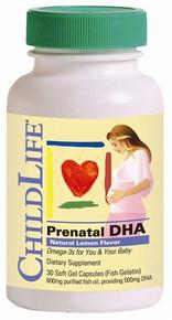 Prenatal DHA - Lemon 30 Softgels ChildLife Essentials