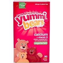 Yummi Bears Vegetarian Calcium with Vitamin D Natural Fruit Flavors 90 Sour Gummy Bears From Hero Nutritional