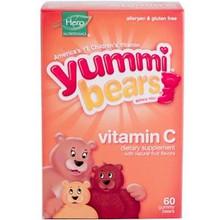 Yummi Bears Vitamin C Natural Fruit Flavors 60 Gummy Bears From Hero Nutritional