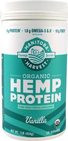 Hemp Protein Powder Certified Organic Vanilla 16 oz Manitoba Harvest
