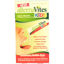 AlternaVites Quick-Melting Mineral Crystals for Kids Strawberry Bubble Gum 30 Ct