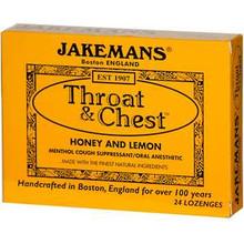 Throat & Chest Honey and Lemon 24 Lozenges From Jakemans