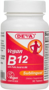 Vegan Sublingual Vitamin B12 with Folic Acid & B6 90 Tablets Deva Vegetarian Nutrition