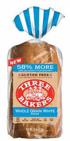 White, Whole Grain, 6 of 19 OZ, Three Bakers