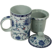 Blue Flower Filter Tea Cup  From B&T Trading