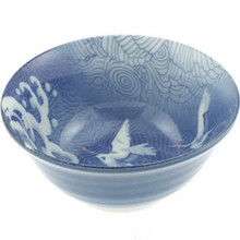 Blue Wave & Cranes Udon Bowl 6'  From Kotobuki