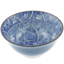 Blue-Green Floral Leaf Bowl 6'  From Kotobuki