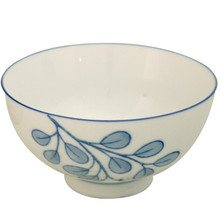 Ceramic Rice Bowl - Blue Leaves  From Misty Rose