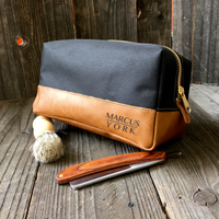 Leather & Canvas Travel Dopp Bag