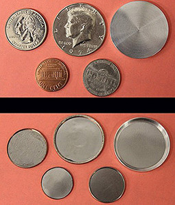 Shimmed Shell Coin Sample Pack: Penny, Nickel, Quarter, Half & Blank Half