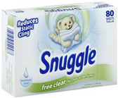 Snuggle Free & Clear Softner Sheets -80ct