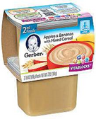 Gerber All-Natural - Apples & Bananas with Mixed Cereal -2ct