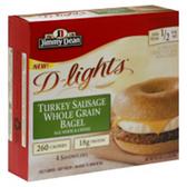 Jimmy Dean D-Lights Bagel Sandwich Turkey Sausage-4 ct