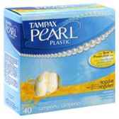 Tampax Pearl Plastic Regular Unscented Tampons - 40 Count