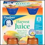 Gerber Harvest Juice Mango Puree Pineapple Carrot Blend- 4/4oz