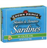 Crown Prince Skinless & Boneless Sardines in Olive Oil-3.75 oz