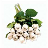 Dozen Roses Bunches - White
