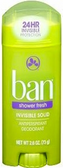 Ban Invisble Solid Shower Fresh Deodorant - ea