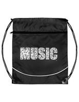 Music Drawstring Bag - Black