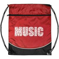 Music Drawstring Bag - Red