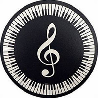 Music Keyboard Mouse Pad with G-Clef - Round