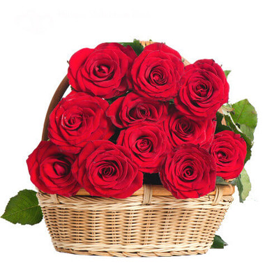 10 Red Ecuadorian Roses Basket