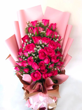 24 Pink Roses Arm Bouquet