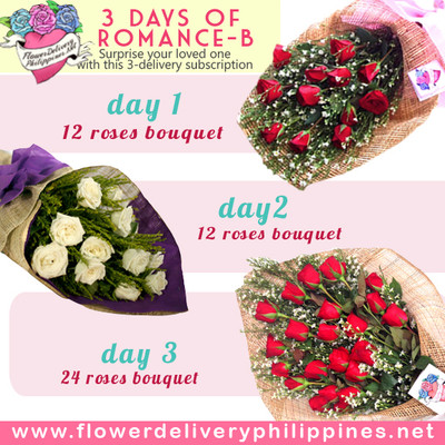 Three Days of Romance Roses Delivery Subscription