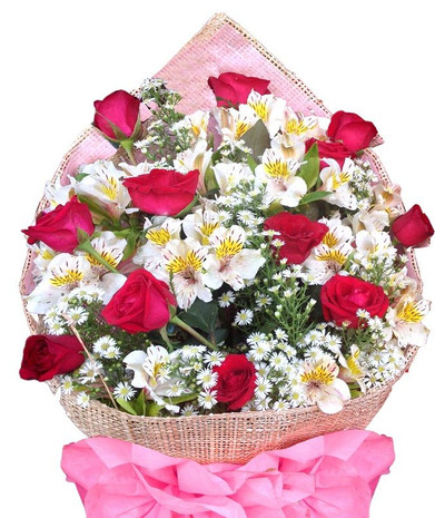 Dozen Red Roses & Peruvian lilies bouquet - BEST SELLER!