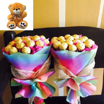 Ferrero Bouquets & Teddy Bear Package