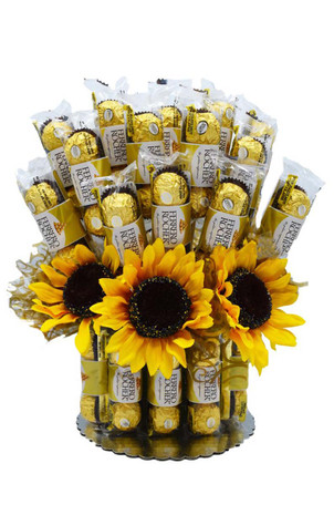 Sunflowers Ferrero Candy Bouquet