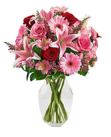 BEST SELLER! Pink Stargazers, Red & Pink Roses, Gerberas & Peruvian Lilies