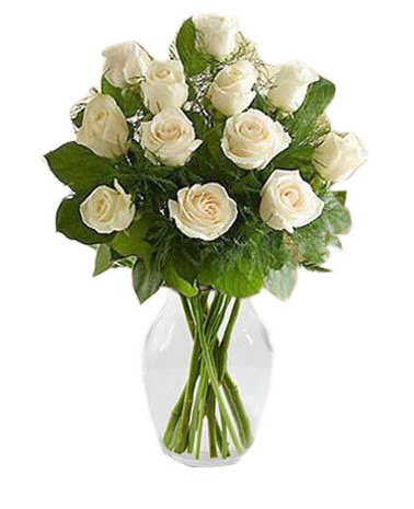 Dozen White Roses Bouquet