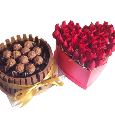 Roses Heart Box & Ferrero Kit Kat Choco Cake (customizable)