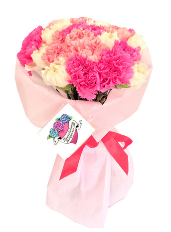 Pretty in Pink & White Carnations Bouquet