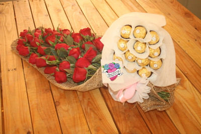 12 Roses Bouquet & 12 Ferrero Bouquet