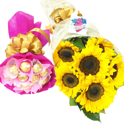 Sunflowers & Ferrero Bouquet Package - Best Seller!