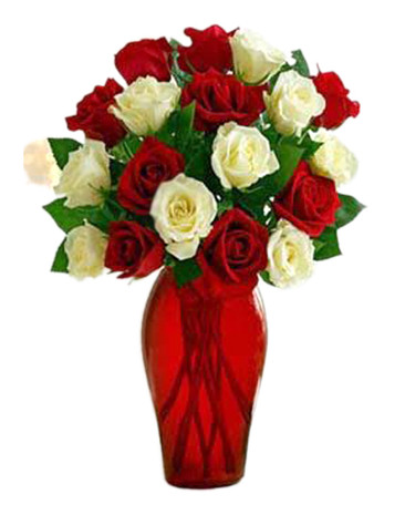 12 Red & White Roses Bouquet